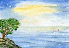 Baum über Meer lizenzfreie stockfotografie