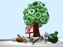 Baum 3D und räumen auf Lizenzfreie Stockfotos