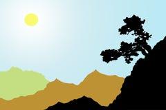 Baum auf dem Berghang in einem sonnenbeschienen Tal Stockfoto