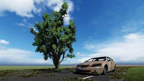 Baum auf der Stra?e und dem alten Auto stockfoto
