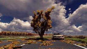 Baum auf der Stra?e und dem alten Auto lizenzfreies stockfoto