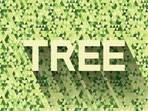 Baum auf grünem Dreieckhintergrund Stockfotografie