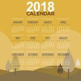 2018 Baum-Berglandschafts-Gelb-Farbe Tone Printable Calendar Starts Sunday lizenzfreie abbildung
