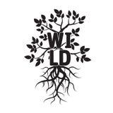 Baum, Blätter, Wurzeln und Text WILD Lizenzfreie Stockbilder