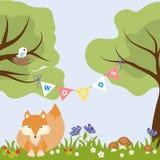 Baum-Blumen-buntes Baby-Design Fox-Vogel-Nest Lizenzfreies Stockfoto