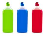 Baum colore Flaschen mit Abwaschreinigungsmittel auf Weiß Lizenzfreie Stockfotografie