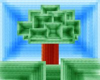 Baum der Leben Geomtric-Kubismus-Malerei Stockfotos