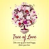 Baum der Liebe - romantischer Gutschein stock abbildung