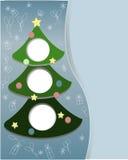 . Baum des neuen Jahres auf einem blauen Hintergrund mit Spielwaren, vektor abbildung