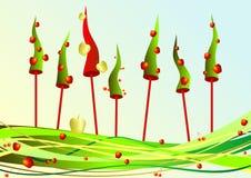 Baum des neuen Jahres in den Äpfeln und in den Kirschen Lizenzfreies Stockbild