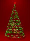 Baum des neuen Jahres gebildet mit Gewebe Stockbilder