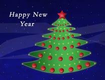 Baum des neuen Jahres mit roten Bereichen und Sternen Stockbild