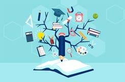 Baum des Wissens und des offenen Buches, moderner Ausbildungsschablonenentwurf vektor abbildung