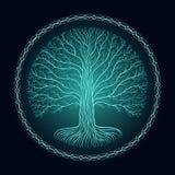 Baum Druidic Yggdrasil, rundes dunkles gotisches Logo alte Buchart Lizenzfreie Stockfotos