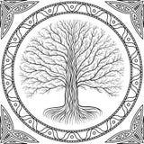 Baum Druidic Yggdrasil, rundes gotisches Logo alte Buchart stockfotografie