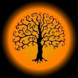 Baum Druidic Yggdrasil, rundes gotisches Logo Halloween-Artvektorschattenbild Lizenzfreies Stockbild