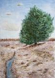Baum durch Nebenfluss Stockbild