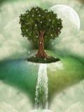Baum in einer Fantasielandschaft lizenzfreie abbildung