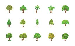 Baum-flacher Vektor-Ikonen-Satz Lizenzfreies Stockbild
