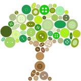 Baum gebildet von den grünen und braunen Tasten. Stock Abbildung