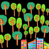 Baum gegen Gebäudekonzept Stockfotos