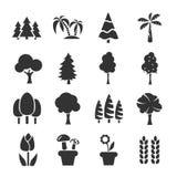 Baum-Ikonen-gesetzter Vektor lizenzfreie stockbilder
