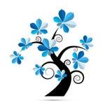 Baum-Illustration mit blauen Kastanien-Blättern Lizenzfreie Stockfotografie