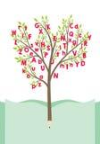 Baum mit Alphabetbuchstaben Stockfotografie