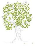 Baum mit Biene und Kamille Lizenzfreie Stockfotos
