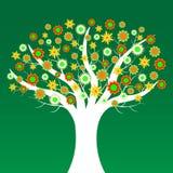 Baum mit Blumen mit einem grünen Hintergrund Stockfotografie