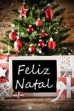 Baum mit Feliz Natal Means Merry Christmas Lizenzfreie Stockfotos
