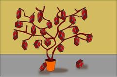 Baum mit Geschenken auf Zweigen Lizenzfreie Stockfotos