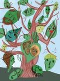 Baum mit Gesichtern Stockfotos