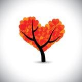 Baum mit Liebe formte die Blätter, die ein Herzsymbol bilden -  Lizenzfreie Stockfotos