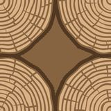 Baum-Ring-nahtloses Vektor-Muster Sägeschnitt-Baumstammhintergrund Auch im corel abgehobenen Betrag Stockfoto