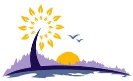 Baum-Symbol von der Dämmerung der Sonne Lizenzfreie Abbildung