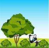 Baum und Gebüsch auf Jahrlichtung und -wild lebenden Tieren stockfotografie