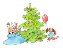 Baum und Geschenke des neuen Jahres: Kinderspielwaren Lizenzfreie Stockbilder
