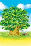 Baum- und Klaviermädchen vektor abbildung