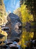 Baum-und Laub-Reflexionen der Merced-Fluss in Yosemite Stockfotos
