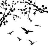 Baum und Vogel lizenzfreie abbildung