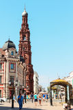 Bauman Street, Campanile Church of the Epiphany, one of the tallest Orthodox campanile Stock Photo