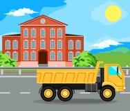 Baumaschinen und Haus Stockbild
