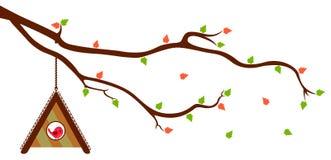 Baumast mit Vogelhaus- und -GRÜNblättern Lizenzfreie Stockfotos