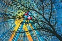 Baumaste gegen Hintergrund von hellem spinnendem Ferris Wheel At Spring Evening oder von Nacht Bewegungszittern Effekt herum stockfotografie