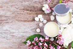 Baume à lèvres naturel fait maison dans des pots de bidon, D I Y projets Photographie stock