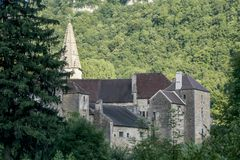 Old medieval village of Baume les Messieurs in France. 2018-05-09 Baume les Messieurs France. Old medieval village of Baume les Messieurs in France royalty free stock photo