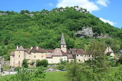 Baume-les-Messieurs in the Jura. One of the most beautiful villages of France, located in the Jura Royalty Free Stock Images