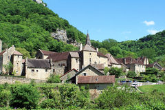 Baume-les-Messieurs in the Jura. One of the most beautiful villages of France, located in the Jura Stock Image