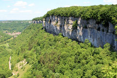 Baume-les-Messieurs in the Jura. One of the most beautiful villages of France, located in the Jura stock photography